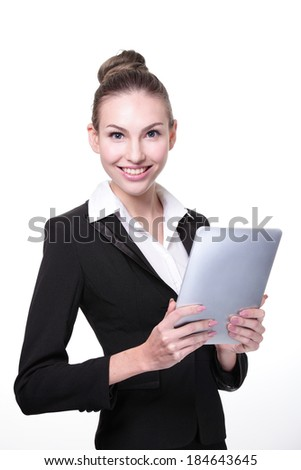 Business Woman or teacher using tablet pc computer isolated on white background - stock photo