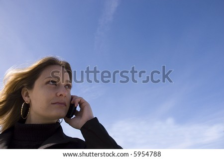 Business woman out of office - stock photo