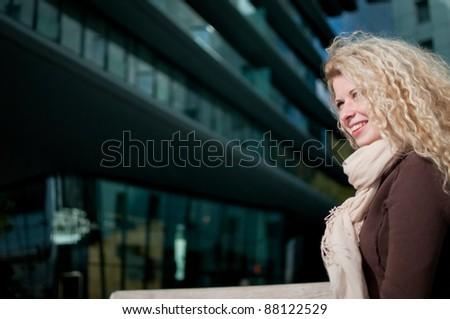 Business woman outdoor portrait - stock photo