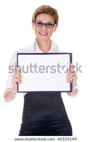 business woman over white background
