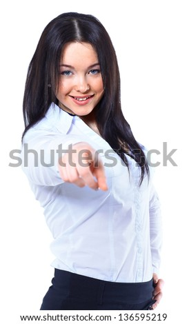 Business woman point finger at you. Isolated on white background - stock photo