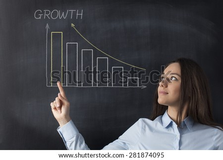 Business woman pointing and looking at profit bar chart on chalkboard