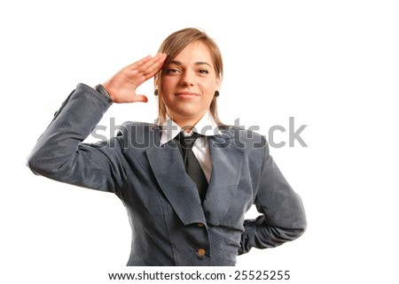 Business woman pointing at camera - stock photo