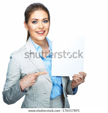 Business woman pointing finger on white blank board. White background isolated.