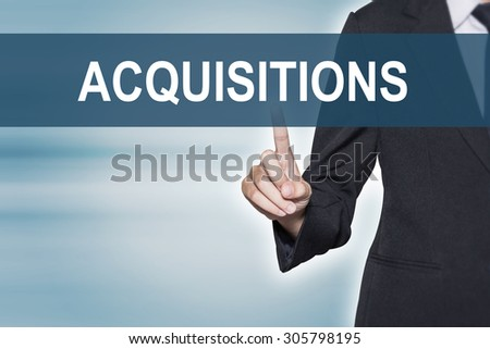Business woman pointing hand at ACQUISITIONS word on virtual screen for business background concept - stock photo