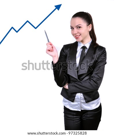 business woman pointing on a graph - stock photo
