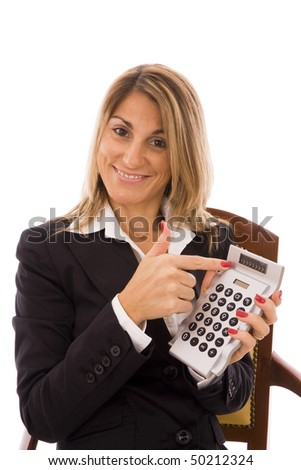 Business woman pointing to the calculator?s screen - stock photo