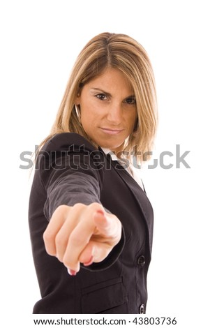 Business woman pointing to you isolated on white