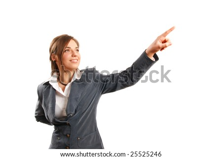Business woman pointing up. - stock photo