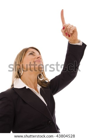 Business woman pointing up with his finger - stock photo