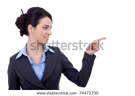 Business woman points finger at something in her left. Isolated on white background - stock photo