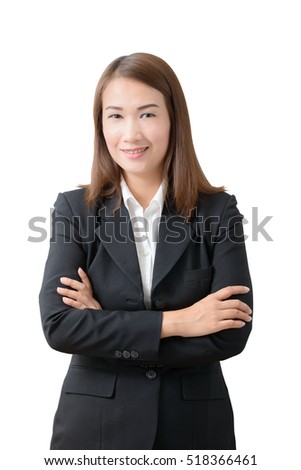 Business woman portrait . Crossed arms on white background
