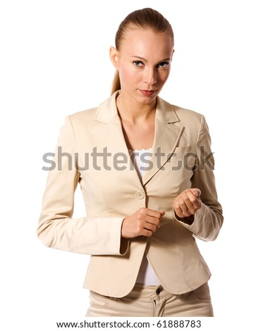 Business woman portrait isolated on white - stock photo
