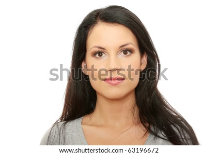 Business woman portrait isolated on white background - stock photo