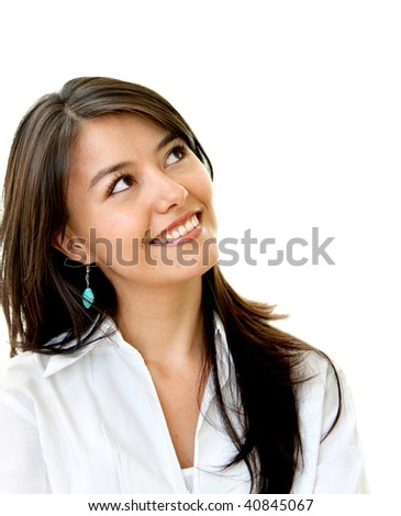 business woman portrait isolated over a white background - stock photo