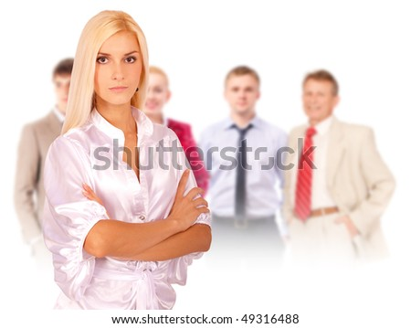 Business woman portrait leading team, isolated on white background.