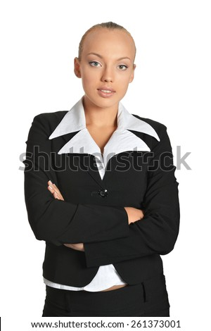 Business woman portrait on a white background - stock photo