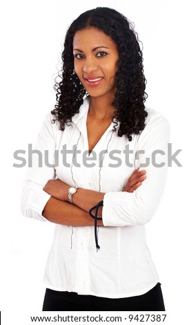 business woman portrait smiling - isolated over a white background - stock photo