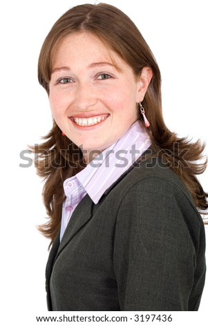 business woman portrait smiling over a white background