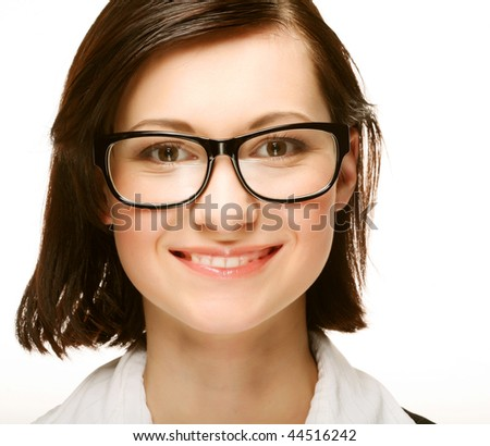 business woman portrait smiling wearing glasses isolated over a white background