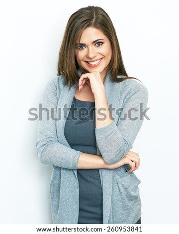 Business woman portrait standing against isolated white background. Young smiling woman. office worker. female model. - stock photo