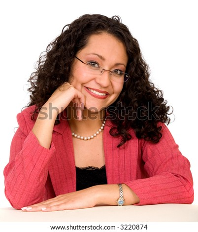 Business woman portrait with glasses over a white background - stock photo