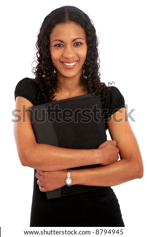 business woman portrat smiling with a folder over a white background - stock photo