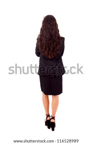 Business woman posing backwards isolated over white