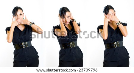 business woman posing the No Evil Poses - stock photo