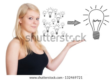 Business woman present an creativity concept on a whiteboard - stock photo