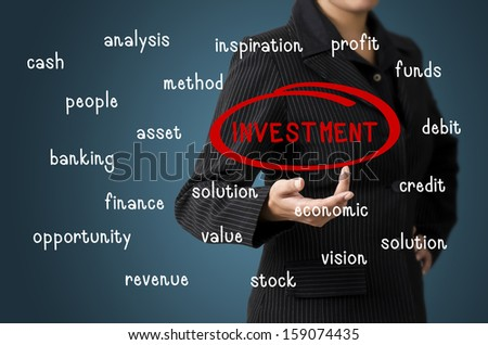 Business Woman Present Investment Bubble Concept - stock photo