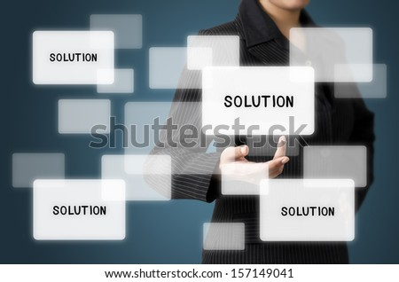 Business Woman Present Solution Screen Interface