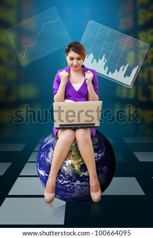 Business woman present the Stock graph report : Elements of this image furnished by NASA - stock photo