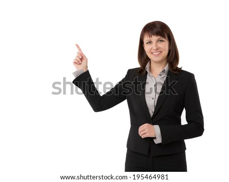 Business woman presenting a copyspace. Isolated on white background - stock photo