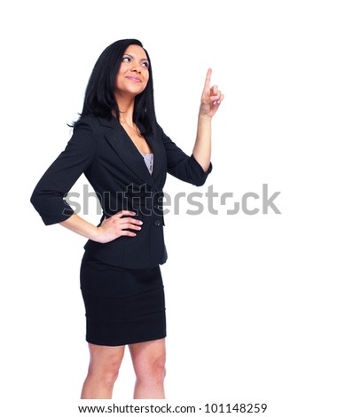 Business woman. presenting a copyspace. Over white background. - stock photo