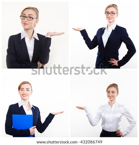 Business woman presenting a copyspace. Successful business woman looking confident and smiling. Set - stock photo