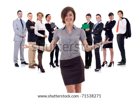 business woman presenting her team isolated over a white backgroun - stock photo
