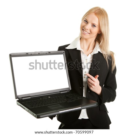 Business woman presenting laptopn - stock photo