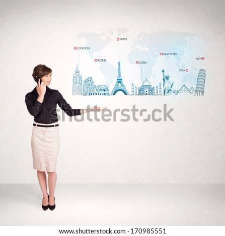 Business woman presenting map with famous cities and landmarks concept