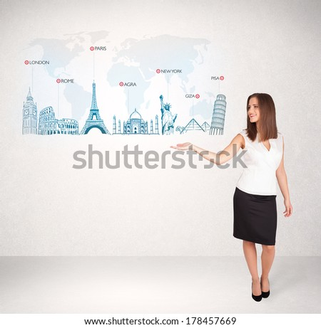 Business woman presenting map with famous cities and landmarks concept - stock photo