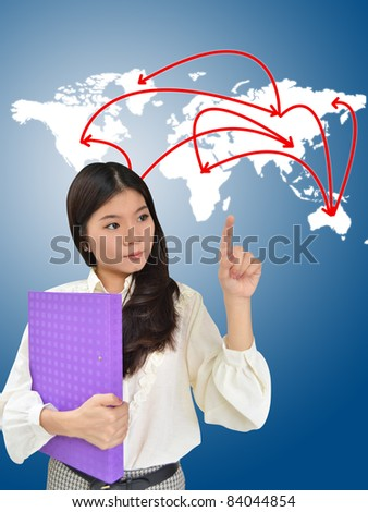 Business woman presenting network on world map - stock photo