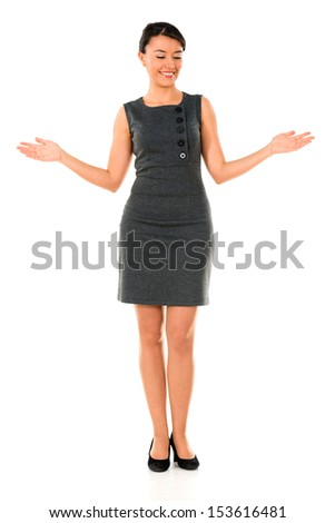 Business woman presenting something with arms open - isolated over white