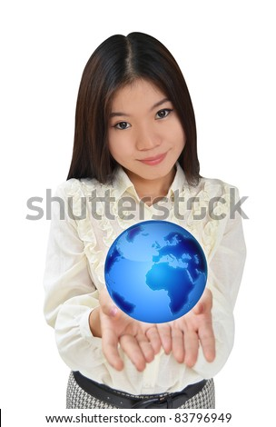 Business woman presenting the earth globe blue - stock photo