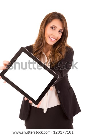 Business woman presenting your product in a digital tablet computer - stock photo