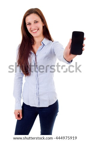 Business woman presenting your product on a last generation smartphone, isolated - stock photo