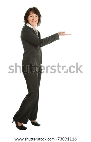 Business woman preseting a product - stock photo