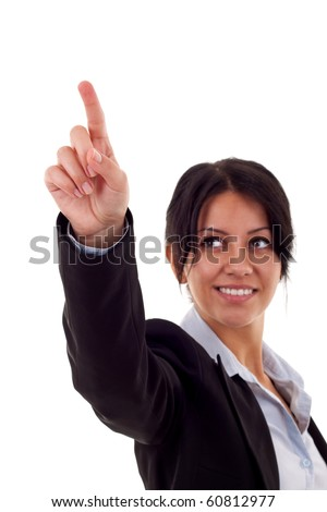 business woman pressing button isolate on white - stock photo