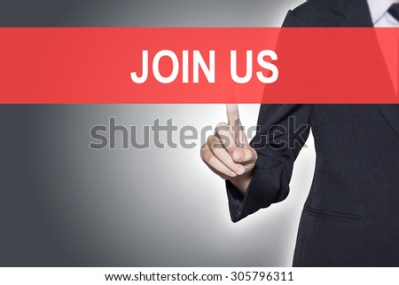 Business woman pressing hand JOIN US word on virtual screen - stock photo