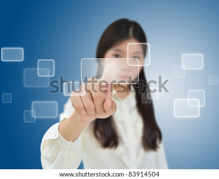 Business woman pressing on a flow of buttons - stock photo