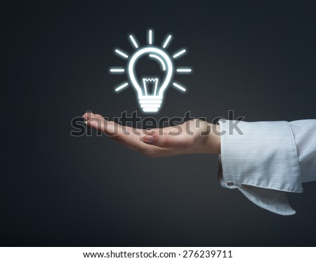 Business woman protecting the idea. - stock photo